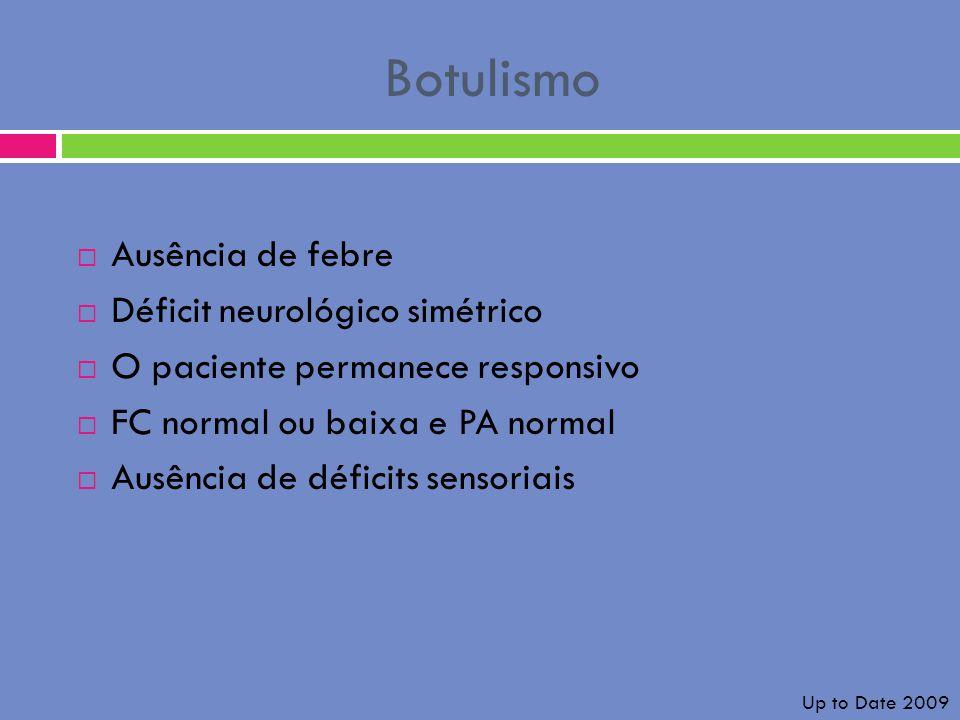 Botulismo Ausência de febre Déficit neurológico simétrico O paciente permanece responsivo FC normal ou baixa e PA normal Ausência de déficits sensoria