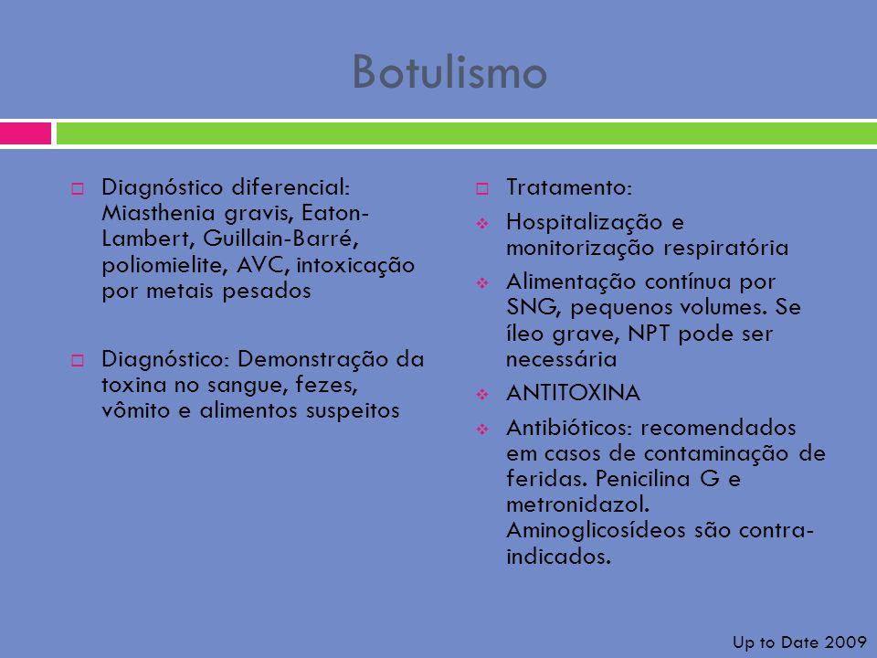 Botulismo Diagnóstico diferencial: Miasthenia gravis, Eaton- Lambert, Guillain-Barré, poliomielite, AVC, intoxicação por metais pesados Diagnóstico: D