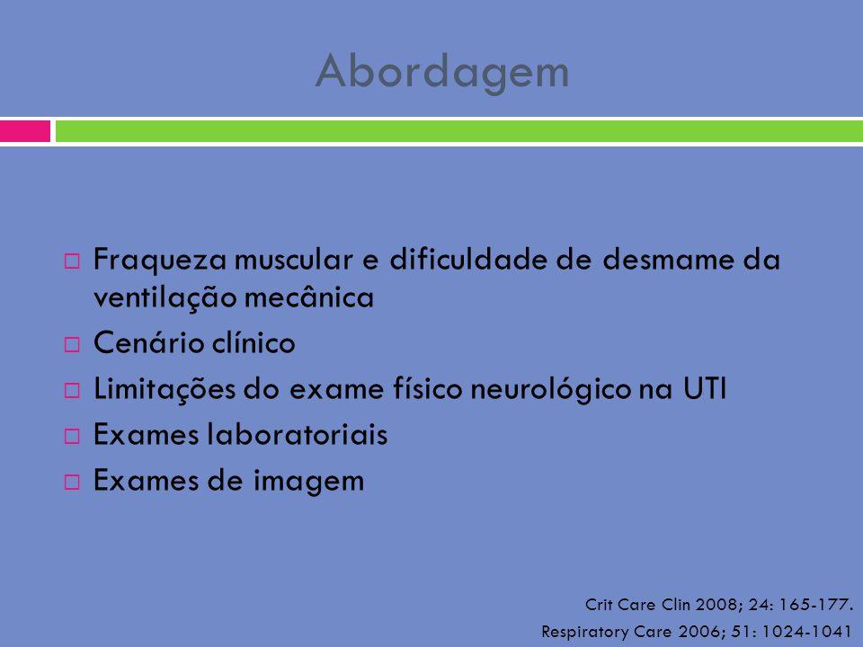 Abordagem Fraqueza muscular e dificuldade de desmame da ventilação mecânica Cenário clínico Limitações do exame físico neurológico na UTI Exames labor
