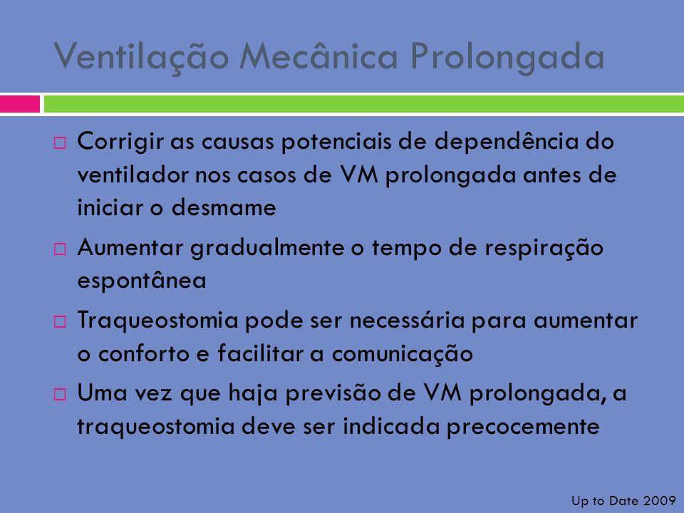 Ventilação Mecânica Prolongada Corrigir as causas potenciais de dependência do ventilador nos casos de VM prolongada antes de iniciar o desmame Aument