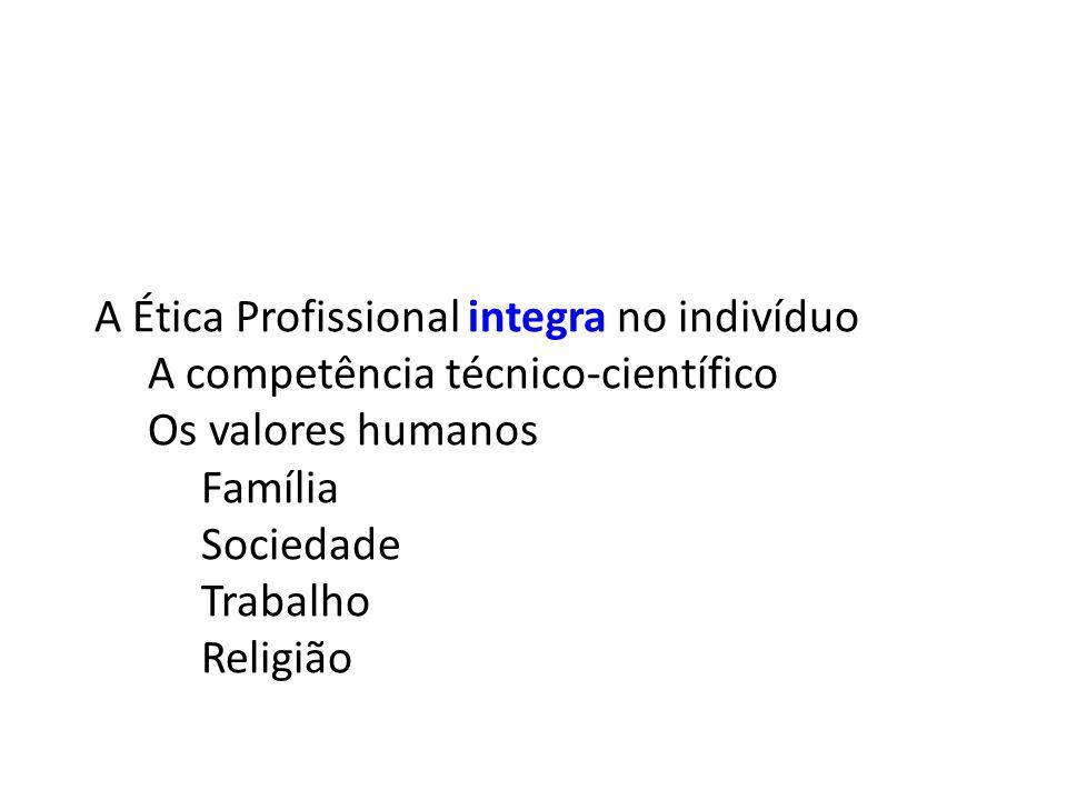 A Ética Profissional integra no indivíduo A competência técnico-científico Os valores humanos Família Sociedade Trabalho Religião