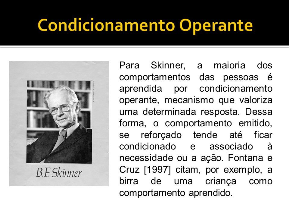 Para estudar a aprendizagem por condicionamento operante em suas pesquisas com ratos, Skinner utilizava caixas nas quais introduzia um mecanismo a ser acionado pelo animal para conseguir comida.