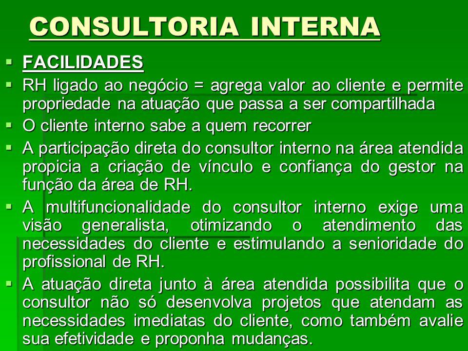 CONSULTORIA INTERNA FACILIDADES FACILIDADES RH ligado ao negócio = agrega valor ao cliente e permite propriedade na atuação que passa a ser compartilh