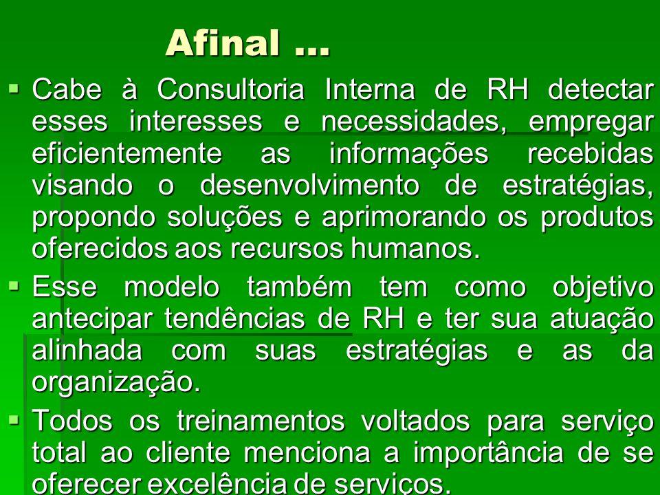 Afinal... Cabe à Consultoria Interna de RH detectar esses interesses e necessidades, empregar eficientemente as informações recebidas visando o desenv