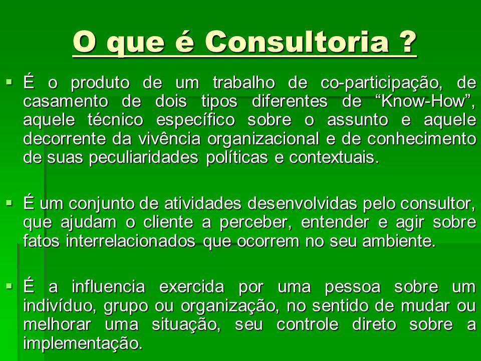 O que é Consultoria ? É o produto de um trabalho de co-participação, de casamento de dois tipos diferentes de Know-How, aquele técnico específico sobr