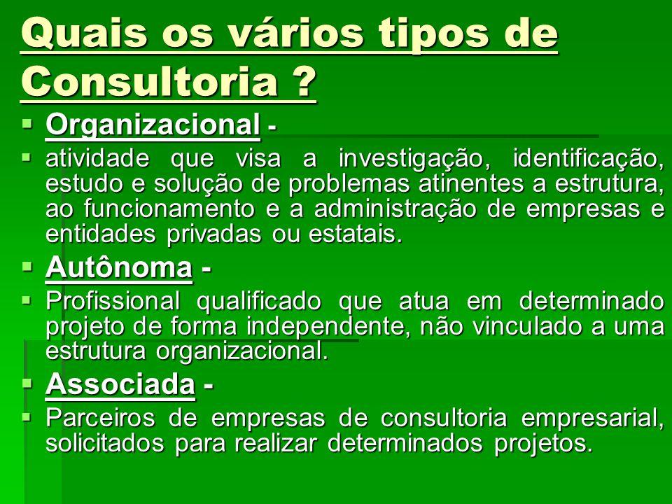 Quais os vários tipos de Consultoria ? Organizacional - Organizacional - atividade que visa a investigação, identificação, estudo e solução de problem