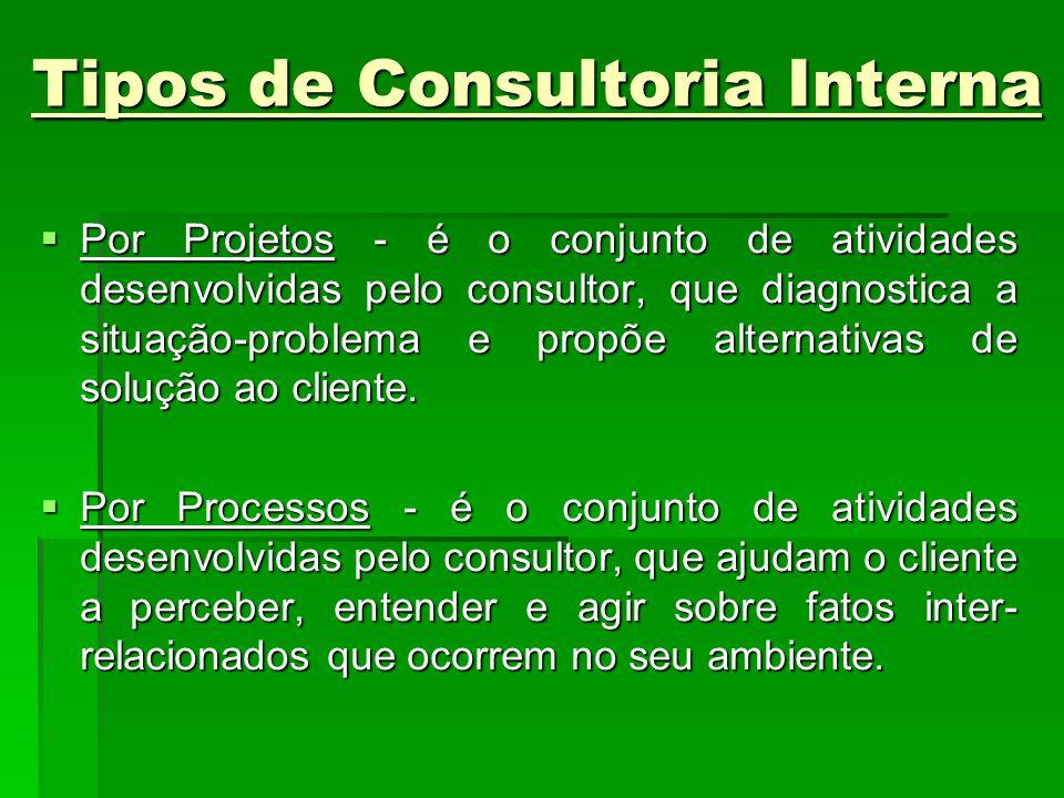 Tipos de Consultoria Interna Por Projetos - é o conjunto de atividades desenvolvidas pelo consultor, que diagnostica a situação-problema e propõe alte