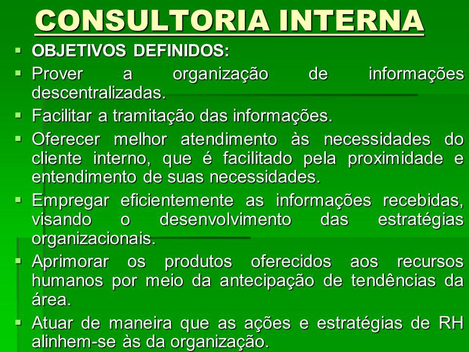 CONSULTORIA INTERNA CONSULTORIA INTERNA OBJETIVOS DEFINIDOS: OBJETIVOS DEFINIDOS: Prover a organização de informações descentralizadas. Prover a organ