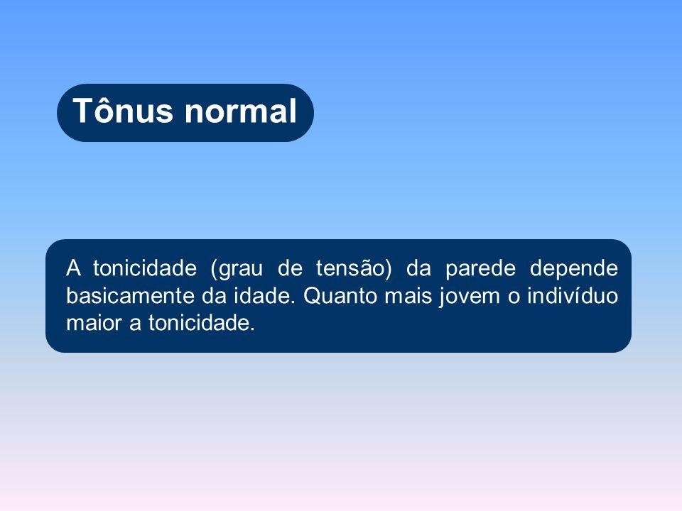 Tônus normal A tonicidade (grau de tensão) da parede depende basicamente da idade. Quanto mais jovem o indivíduo maior a tonicidade.