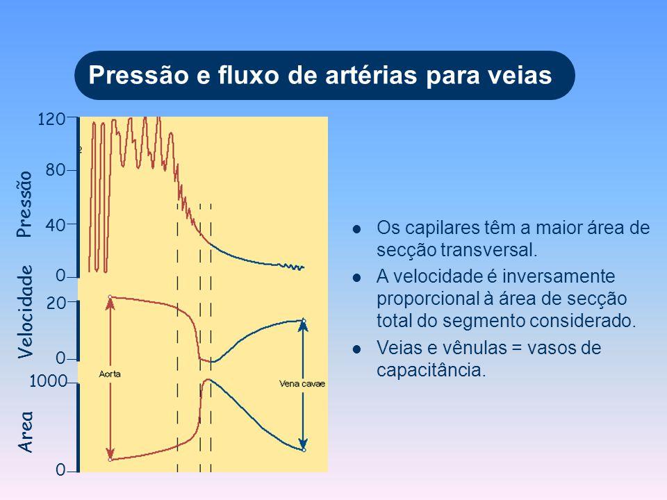 Pressão e fluxo de artérias para veias 120 80 40 0 Os capilares têm a maior área de secção transversal. A velocidade é inversamente proporcional à áre
