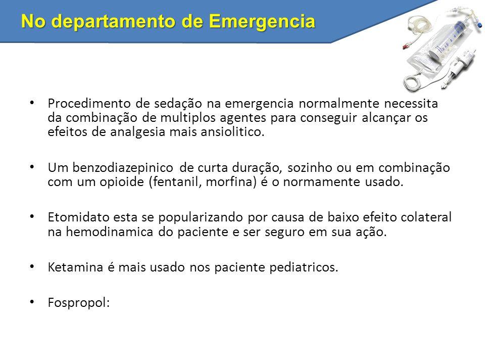 No departamento de Emergencia Procedimento de sedação na emergencia normalmente necessita da combinação de multiplos agentes para conseguir alcançar o