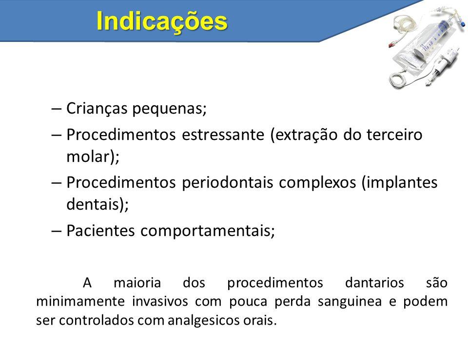 Indicações – Crianças pequenas; – Procedimentos estressante (extração do terceiro molar); – Procedimentos periodontais complexos (implantes dentais);
