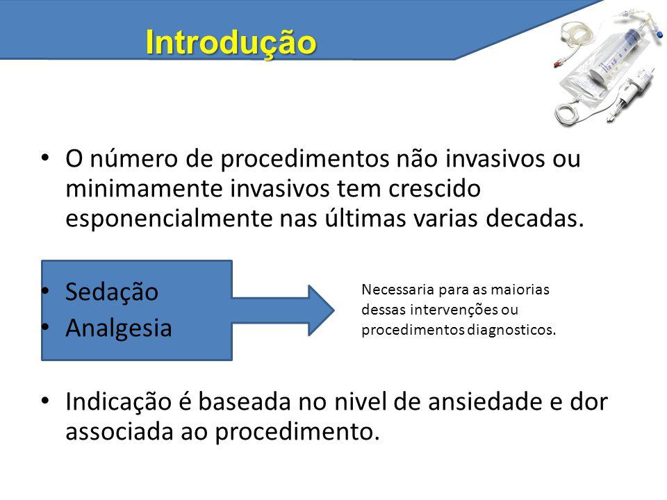 O número de procedimentos não invasivos ou minimamente invasivos tem crescido esponencialmente nas últimas varias decadas. Sedação Analgesia Indicação