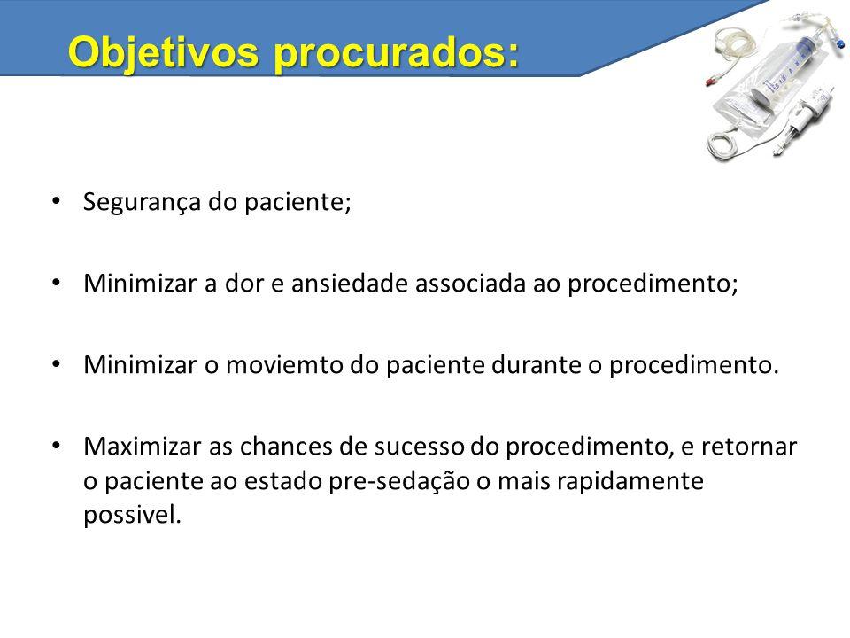 Segurança do paciente; Minimizar a dor e ansiedade associada ao procedimento; Minimizar o moviemto do paciente durante o procedimento. Maximizar as ch