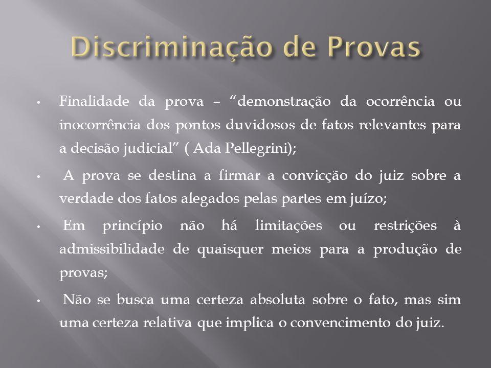 Finalidade da prova – demonstração da ocorrência ou inocorrência dos pontos duvidosos de fatos relevantes para a decisão judicial ( Ada Pellegrini); A