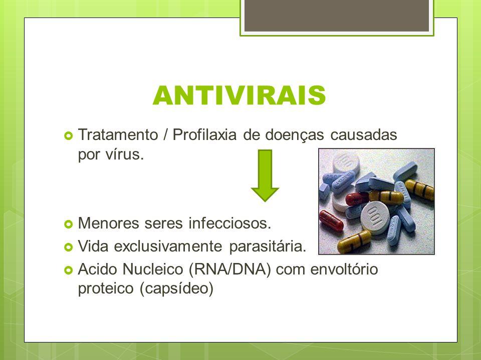 ANTIVIRAIS Tratamento / Profilaxia de doenças causadas por vírus. Menores seres infecciosos. Vida exclusivamente parasitária. Acido Nucleico (RNA/DNA)