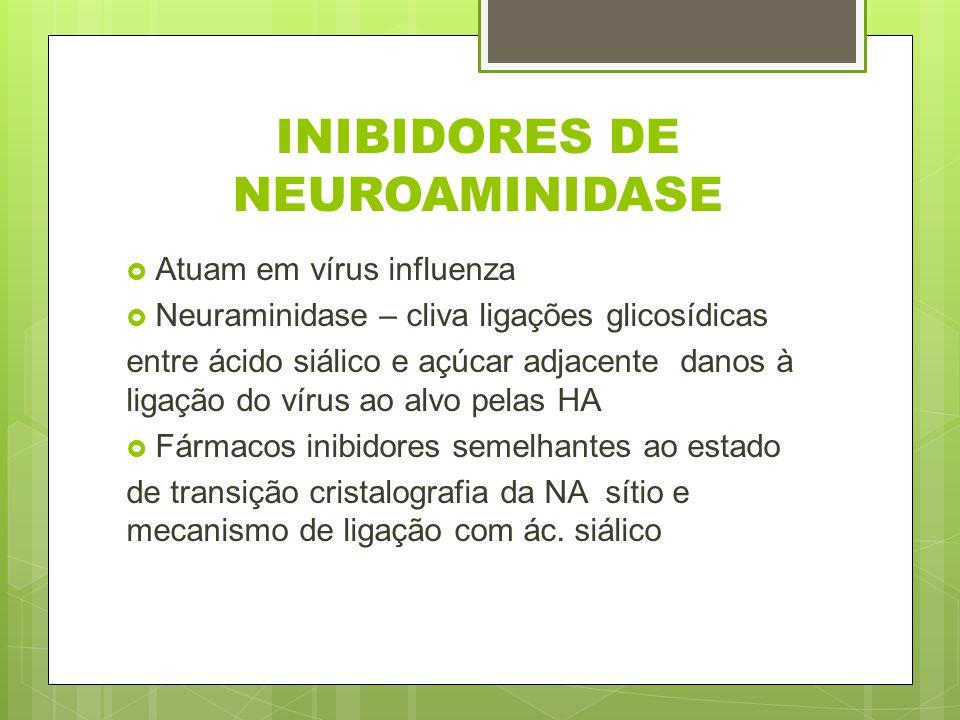 INIBIDORES DE NEUROAMINIDASE Atuam em vírus influenza Neuraminidase – cliva ligações glicosídicas entre ácido siálico e açúcar adjacente danos à ligaç