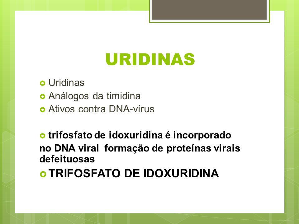 URIDINAS Uridinas Análogos da timidina Ativos contra DNA-vírus trifosfato de idoxuridina é incorporado no DNA viral formação de proteínas virais defei