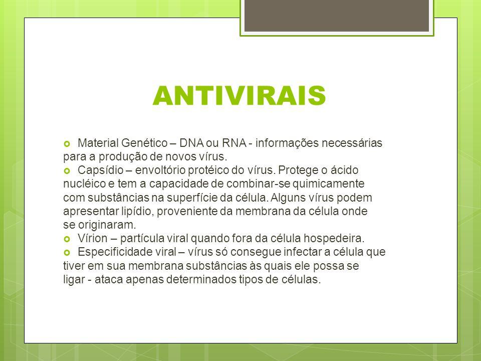 ANTIVIRAIS Material Genético – DNA ou RNA - informações necessárias para a produção de novos vírus. Capsídio – envoltório protéico do vírus. Protege o