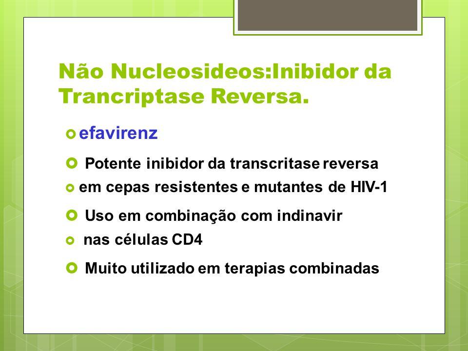 Não Nucleosideos:Inibidor da Trancriptase Reversa. efavirenz Potente inibidor da transcritase reversa em cepas resistentes e mutantes de HIV-1 Uso em