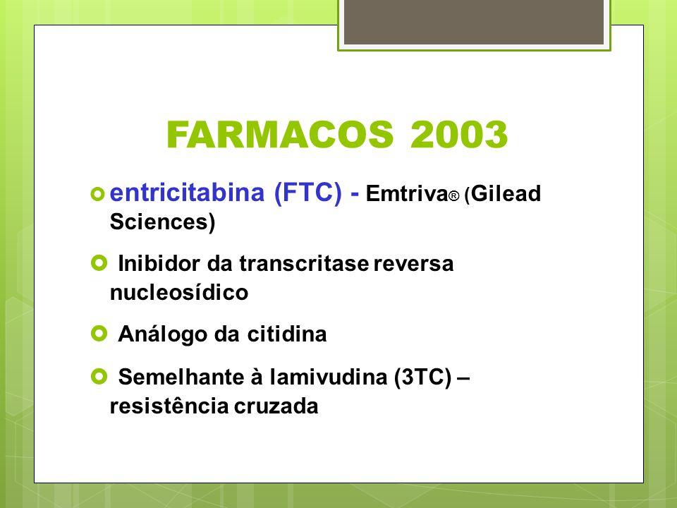 FARMACOS 2003 entricitabina (FTC) - Emtriva ® ( Gilead Sciences) Inibidor da transcritase reversa nucleosídico Análogo da citidina Semelhante à lamivu