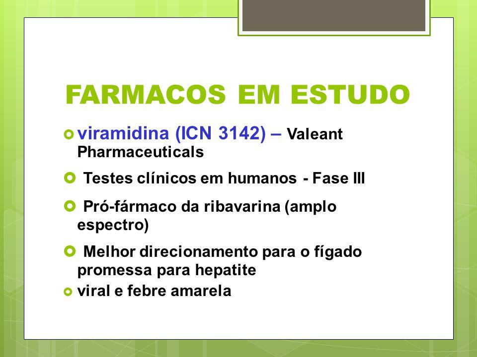 FARMACOS EM ESTUDO viramidina (ICN 3142) – Valeant Pharmaceuticals Testes clínicos em humanos - Fase III Pró-fármaco da ribavarina (amplo espectro) Me