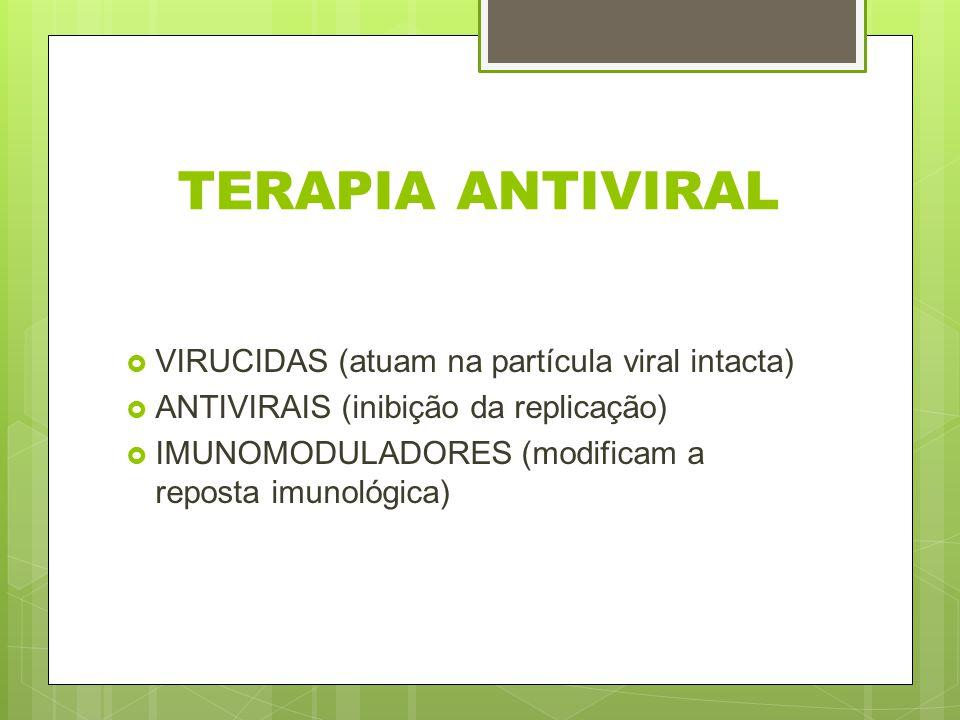 TERAPIA ANTIVIRAL VIRUCIDAS (atuam na partícula viral intacta) ANTIVIRAIS (inibição da replicação) IMUNOMODULADORES (modificam a reposta imunológica)