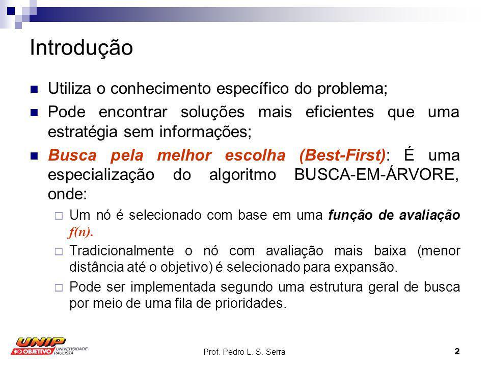 Prof. Pedro L. S. Serra2 Introdução Utiliza o conhecimento específico do problema; Pode encontrar soluções mais eficientes que uma estratégia sem info
