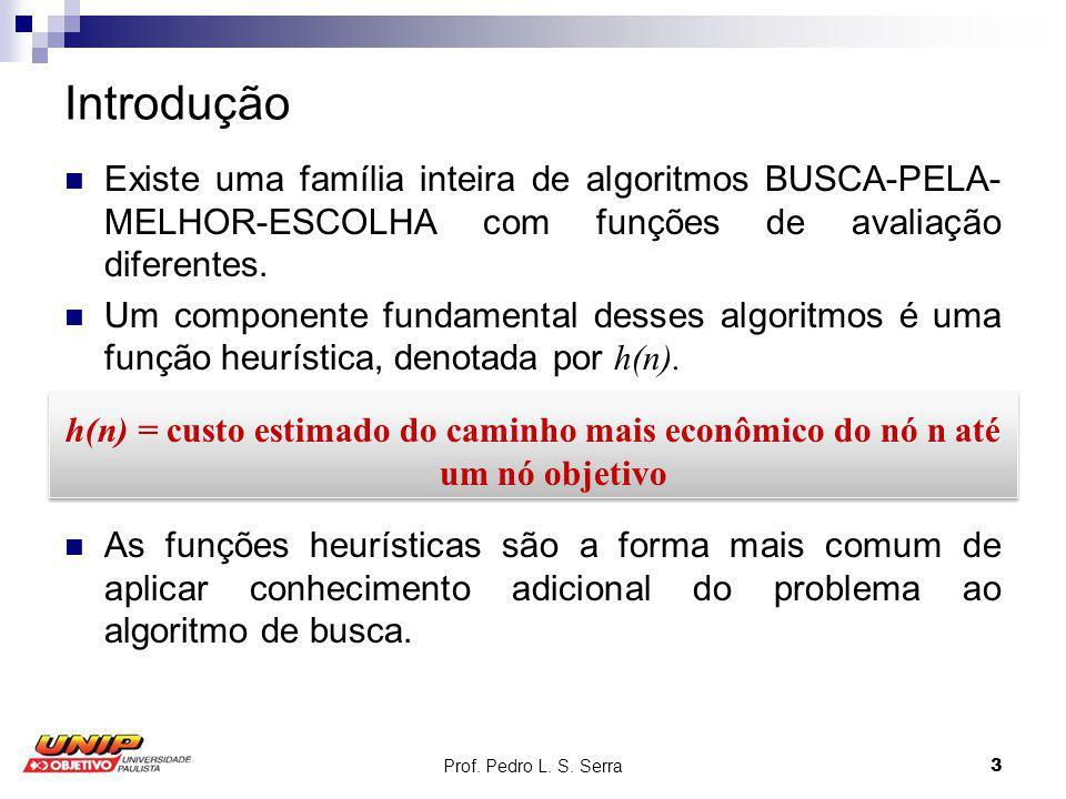 Prof. Pedro L. S. Serra3 Introdução Existe uma família inteira de algoritmos BUSCA-PELA- MELHOR-ESCOLHA com funções de avaliação diferentes. Um compon