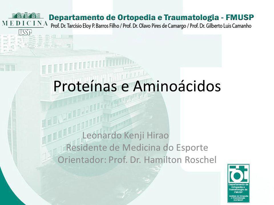 Proteínas e Aminoácidos Leonardo Kenji Hirao Residente de Medicina do Esporte Orientador: Prof. Dr. Hamilton Roschel