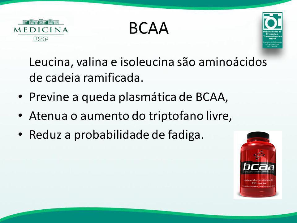 BCAA Leucina, valina e isoleucina são aminoácidos de cadeia ramificada. Previne a queda plasmática de BCAA, Atenua o aumento do triptofano livre, Redu