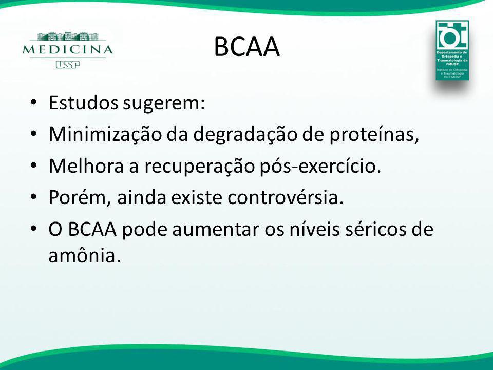 BCAA Estudos sugerem: Minimização da degradação de proteínas, Melhora a recuperação pós-exercício. Porém, ainda existe controvérsia. O BCAA pode aumen