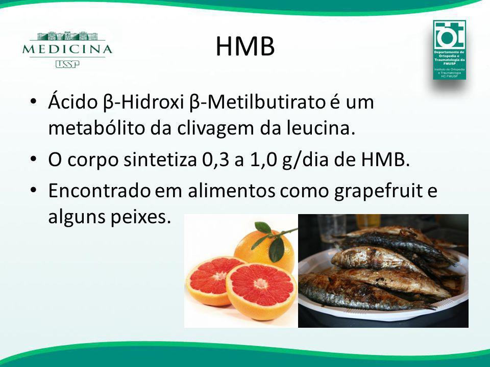 HMB Ácido β-Hidroxi β-Metilbutirato é um metabólito da clivagem da leucina. O corpo sintetiza 0,3 a 1,0 g/dia de HMB. Encontrado em alimentos como gra