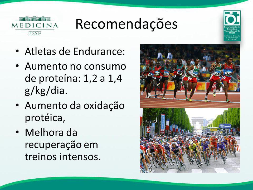 Recomendações Atletas de Endurance: Aumento no consumo de proteína: 1,2 a 1,4 g/kg/dia. Aumento da oxidação protéica, Melhora da recuperação em treino