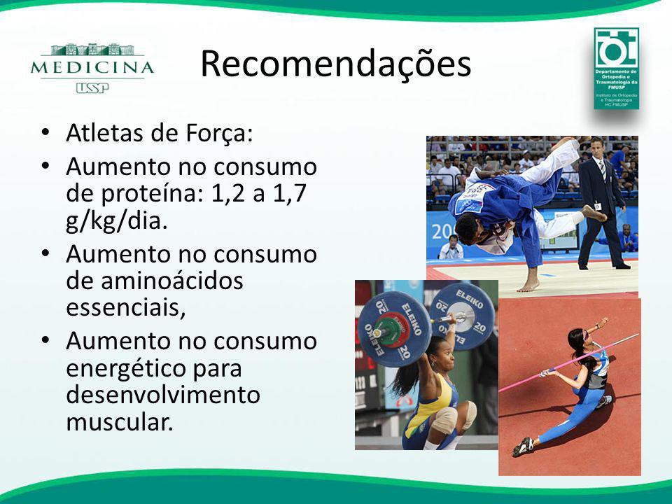 Recomendações Atletas de Força: Aumento no consumo de proteína: 1,2 a 1,7 g/kg/dia. Aumento no consumo de aminoácidos essenciais, Aumento no consumo e