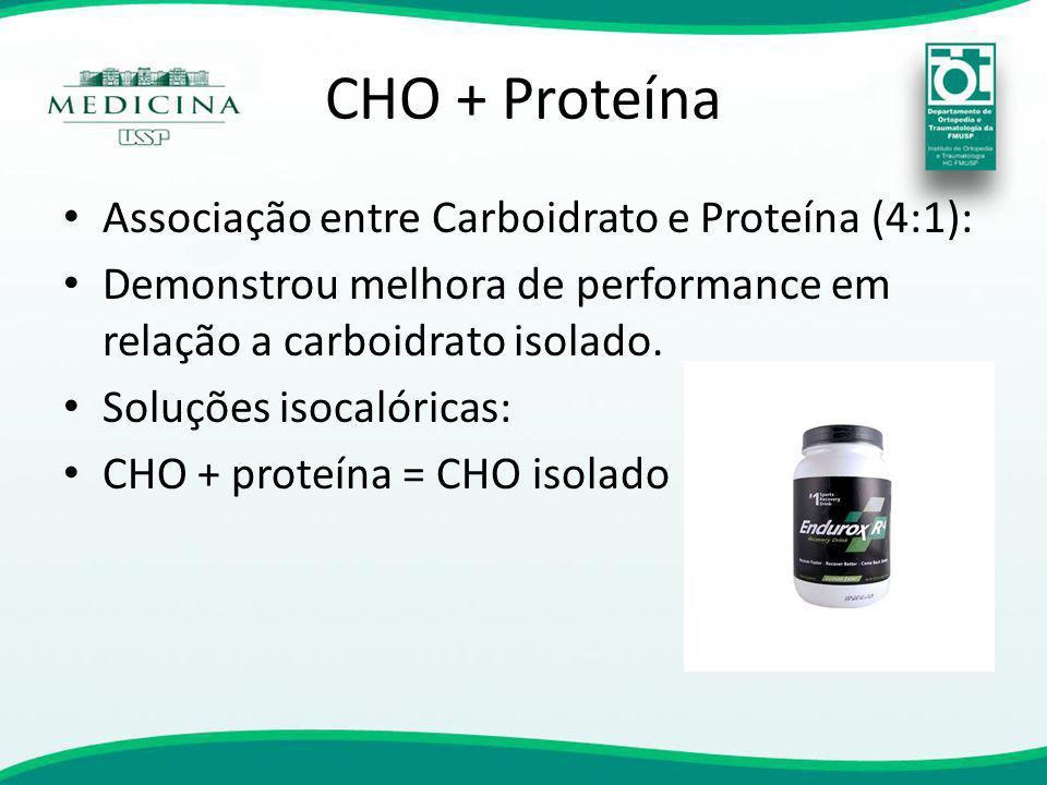 CHO + Proteína Associação entre Carboidrato e Proteína (4:1): Demonstrou melhora de performance em relação a carboidrato isolado. Soluções isocalórica