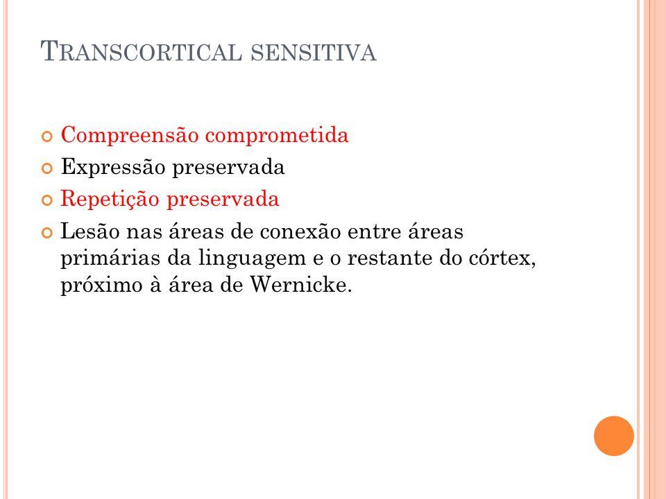 T RANSCORTICAL SENSITIVA Compreensão comprometida Expressão preservada Repetição preservada Lesão nas áreas de conexão entre áreas primárias da lingua