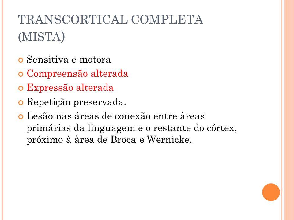 TRANSCORTICAL COMPLETA ( MISTA ) Sensitiva e motora Compreensão alterada Expressão alterada Repetição preservada. Lesão nas áreas de conexão entre àre