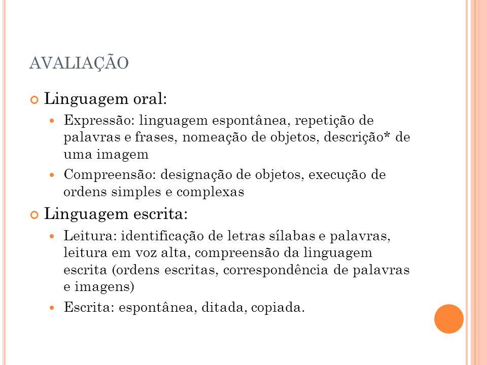 AVALIAÇÃO Linguagem oral: Expressão: linguagem espontânea, repetição de palavras e frases, nomeação de objetos, descrição* de uma imagem Compreensão: