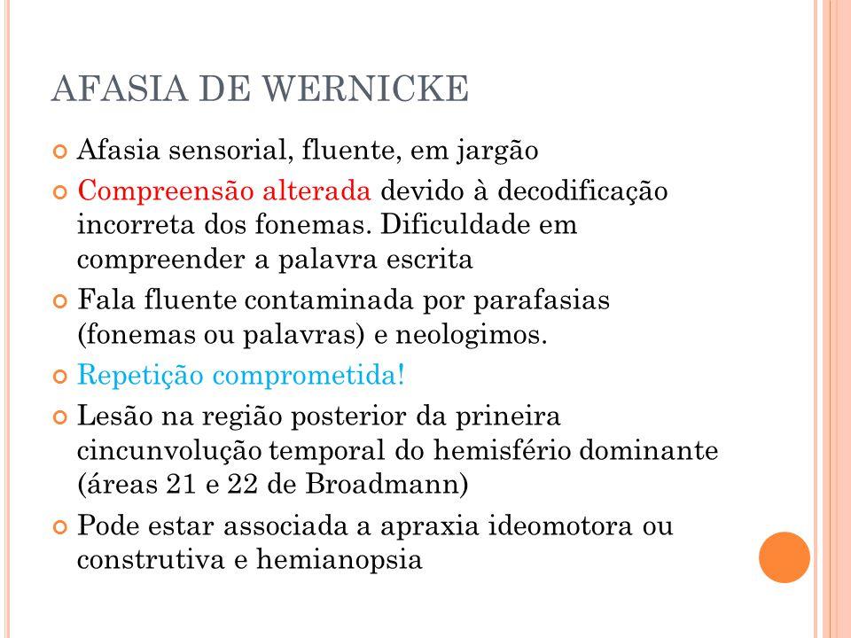 AFASIA DE WERNICKE Afasia sensorial, fluente, em jargão Compreensão alterada devido à decodificação incorreta dos fonemas. Dificuldade em compreender