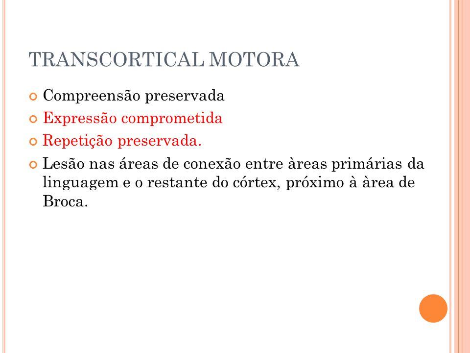 TRANSCORTICAL MOTORA Compreensão preservada Expressão comprometida Repetição preservada. Lesão nas áreas de conexão entre àreas primárias da linguagem