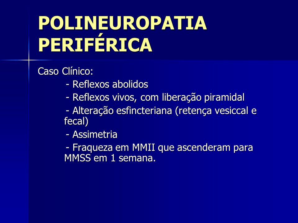 POLINEUROPATIA PERIFÉRICA Caso Clínico: - Reflexos abolidos - Reflexos abolidos - Reflexos vivos, com liberação piramidal - Reflexos vivos, com libera
