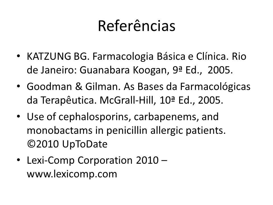 Referências KATZUNG BG. Farmacologia Básica e Clínica. Rio de Janeiro: Guanabara Koogan, 9ª Ed., 2005. Goodman & Gilman. As Bases da Farmacológicas da
