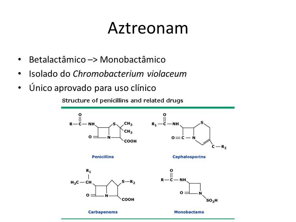Betalactâmico –> Monobactâmico Isolado do Chromobacterium violaceum Único aprovado para uso clínico