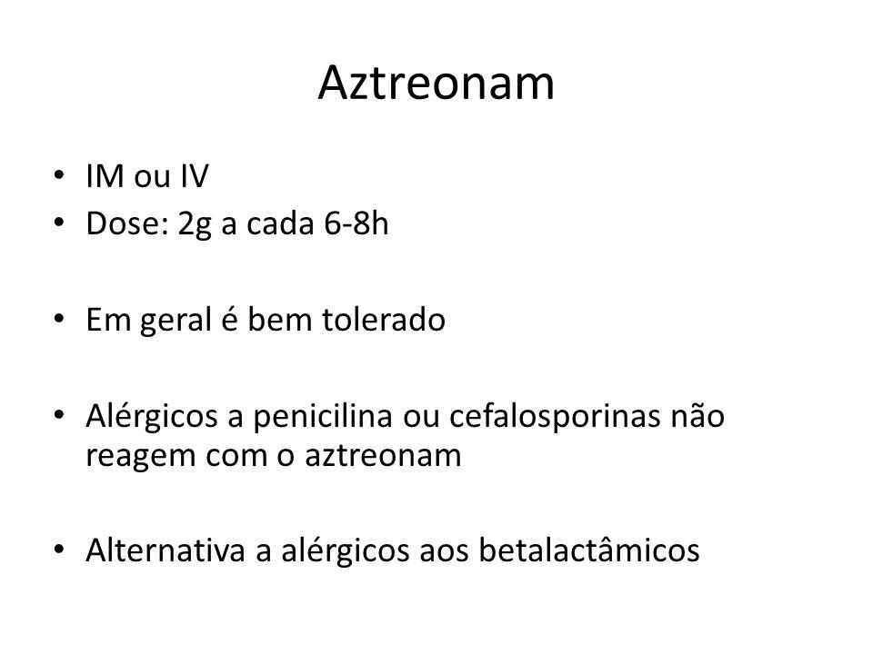 Aztreonam IM ou IV Dose: 2g a cada 6-8h Em geral é bem tolerado Alérgicos a penicilina ou cefalosporinas não reagem com o aztreonam Alternativa a alér