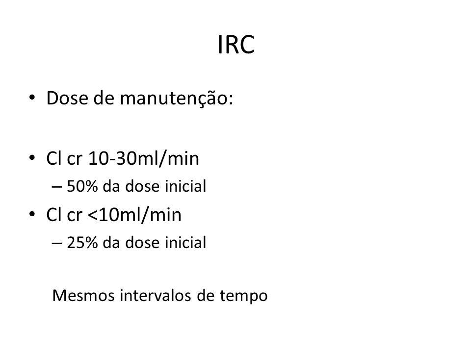 IRC Dose de manutenção: Cl cr 10-30ml/min – 50% da dose inicial Cl cr <10ml/min – 25% da dose inicial Mesmos intervalos de tempo