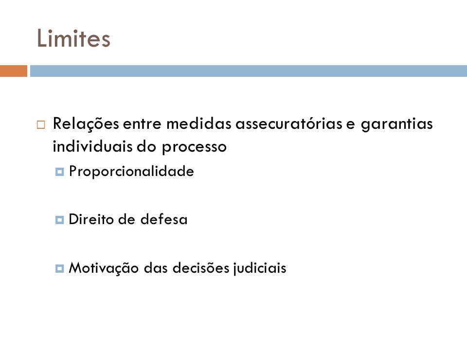 Limites Relações entre medidas assecuratórias e garantias individuais do processo Proporcionalidade Direito de defesa Motivação das decisões judiciais