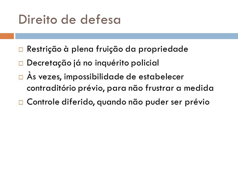 Direito de defesa Restrição à plena fruição da propriedade Decretação já no inquérito policial Às vezes, impossibilidade de estabelecer contraditório