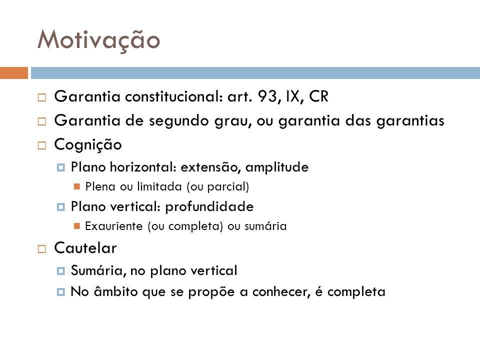 Motivação Garantia constitucional: art. 93, IX, CR Garantia de segundo grau, ou garantia das garantias Cognição Plano horizontal: extensão, amplitude