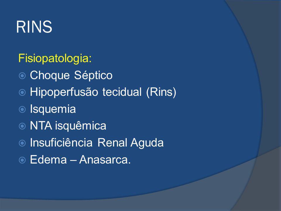 RINS Fisiopatologia: Choque Séptico Hipoperfusão tecidual (Rins) Isquemia NTA isquêmica Insuficiência Renal Aguda Edema – Anasarca.